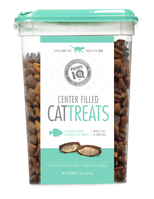 Paws IQ Seafood Flavored Center Filled Cat Treats
