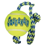 Kong Squeakair ball with rope tug and fetch dog toy - medium