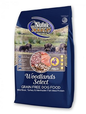 Nutrisource Woodlands Select Boar and Turkey Grain Free dry dog food.  Pea and flaxseed free for optimal nutrition and essential to breeders.  30# bag